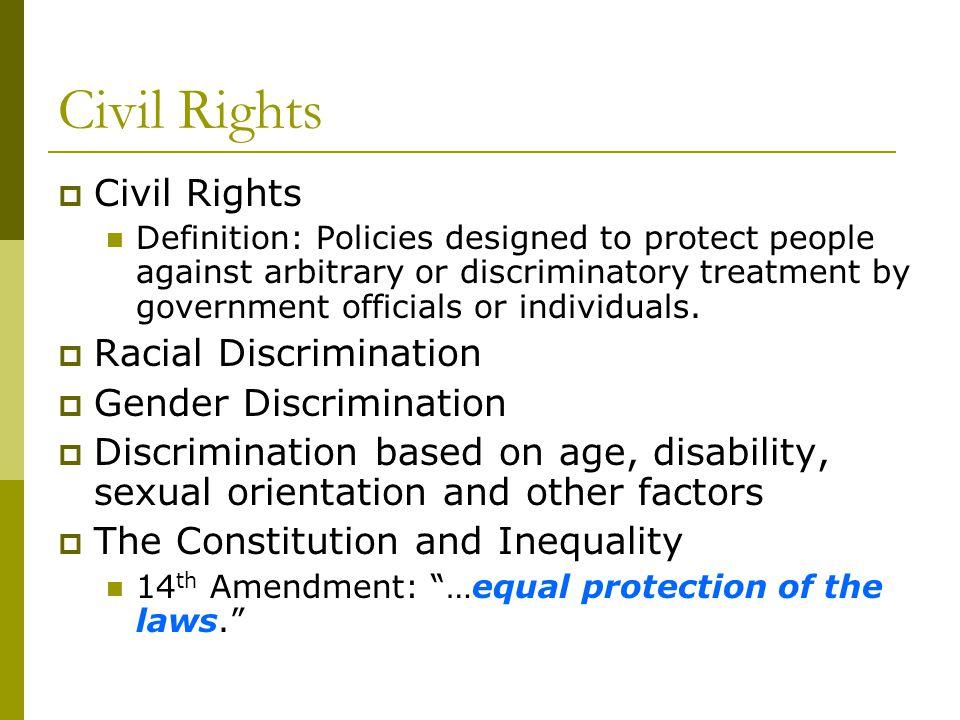 Civil Rights Civil Rights Racial Discrimination Gender Discrimination