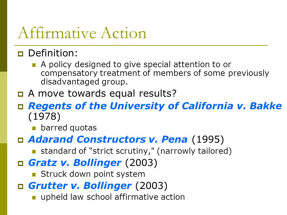 Affirmative Action Definition: A move towards equal results