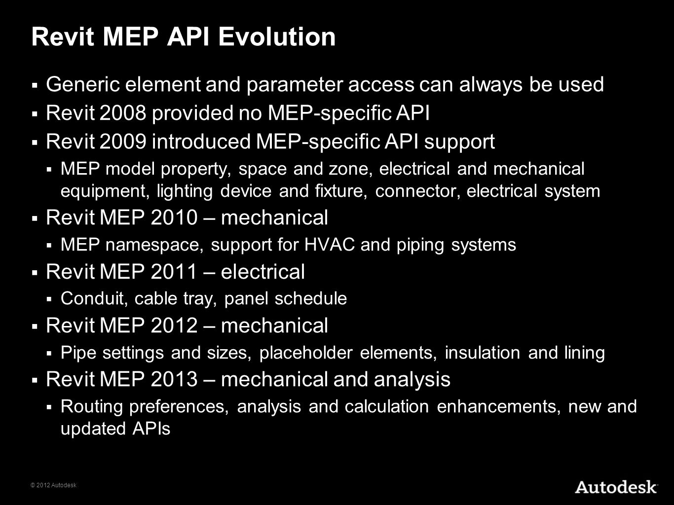Revit MEP API Evolution