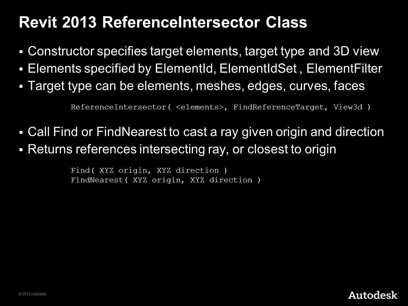 Revit 2013 ReferenceIntersector Class