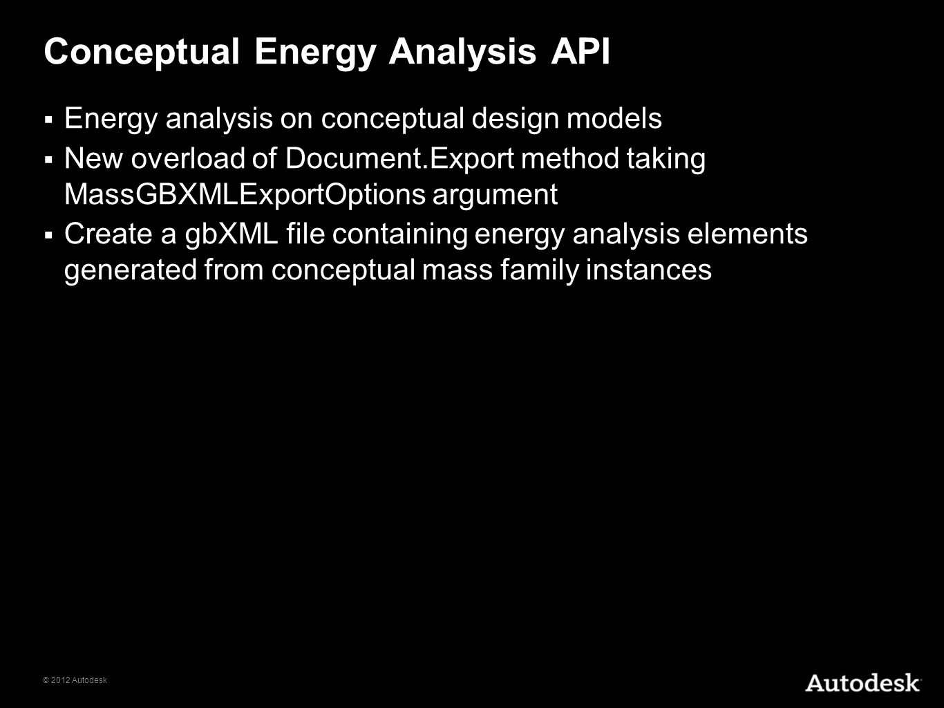 Conceptual Energy Analysis API