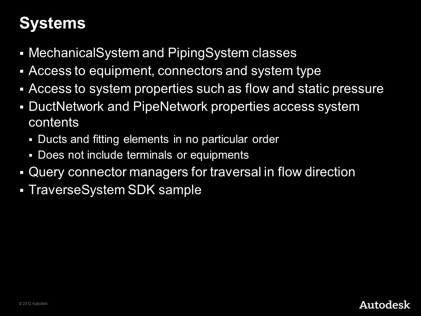 Systems MechanicalSystem and PipingSystem classes