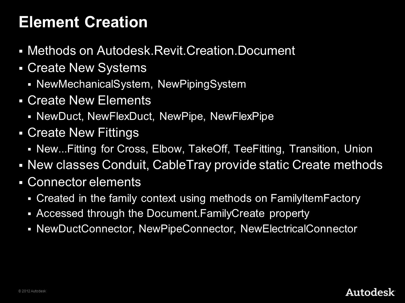 Element Creation Methods on Autodesk.Revit.Creation.Document