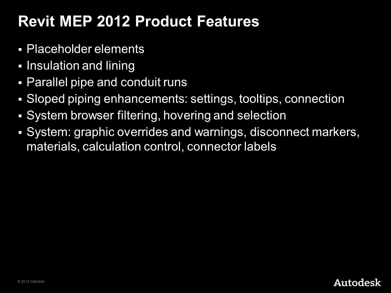 Revit MEP 2012 Product Features
