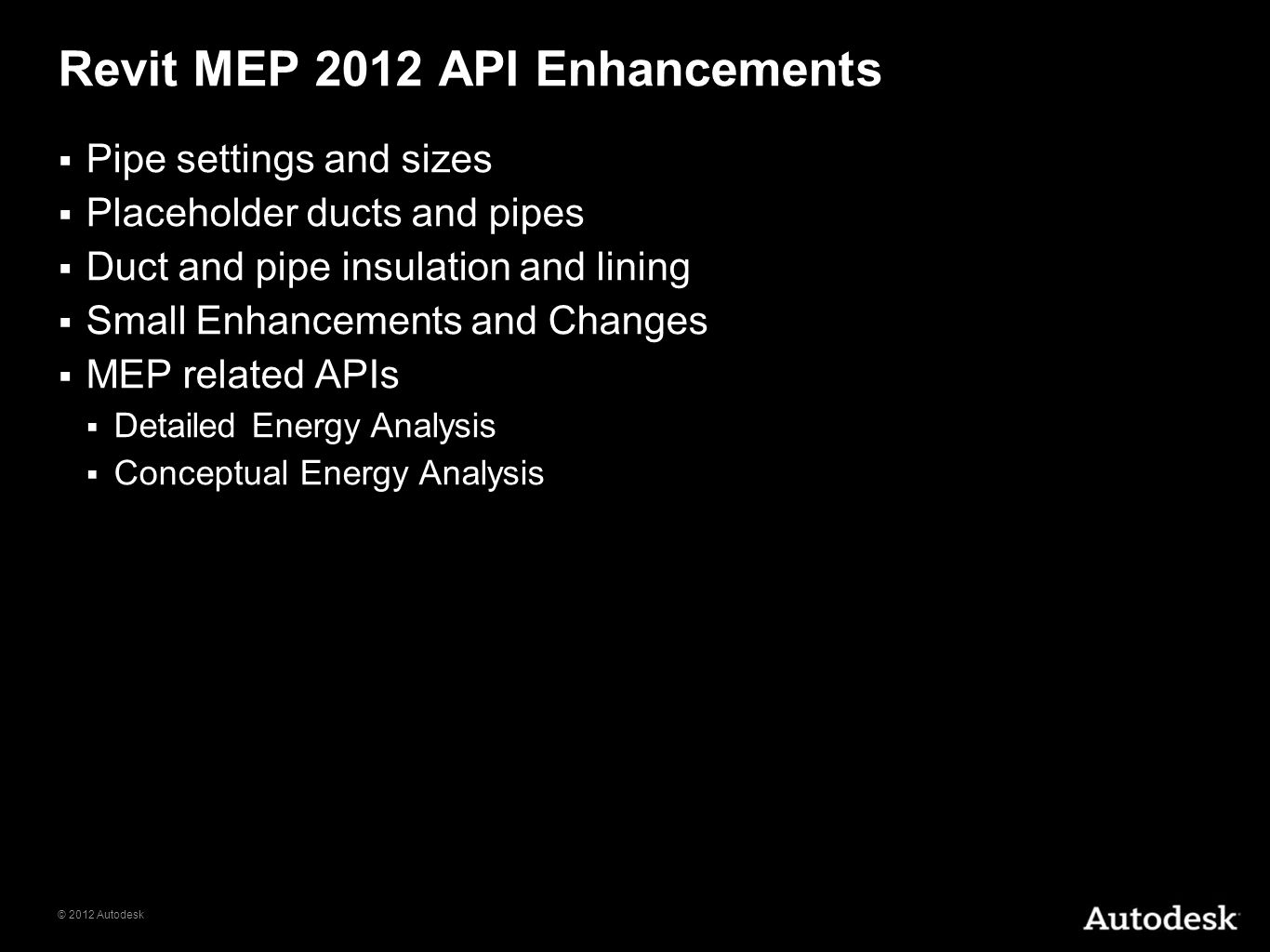 Revit MEP 2012 API Enhancements