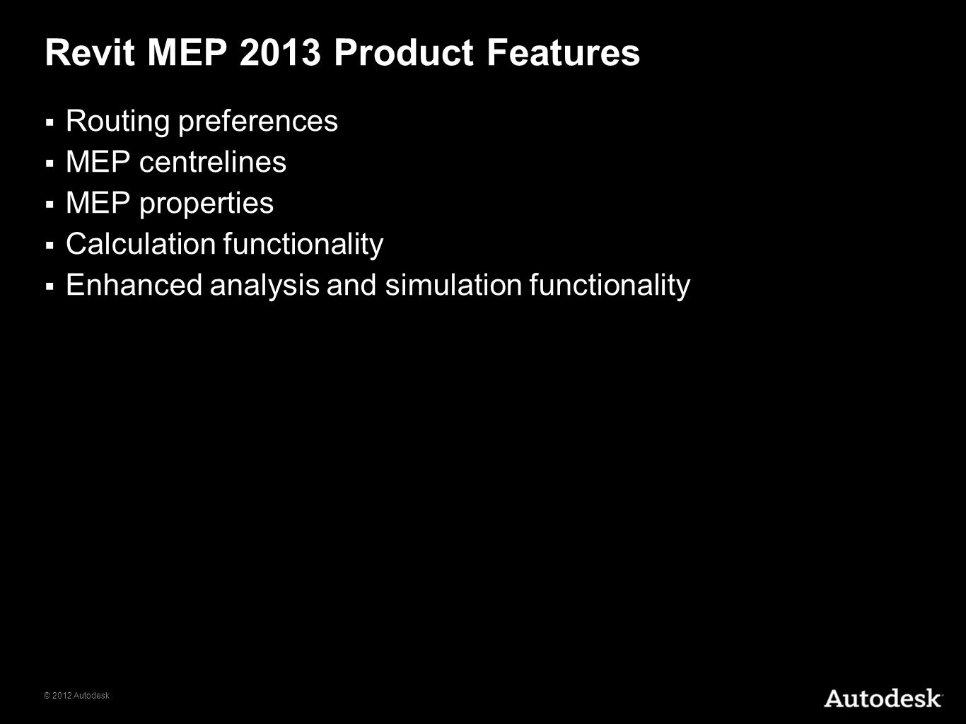 Revit MEP 2013 Product Features