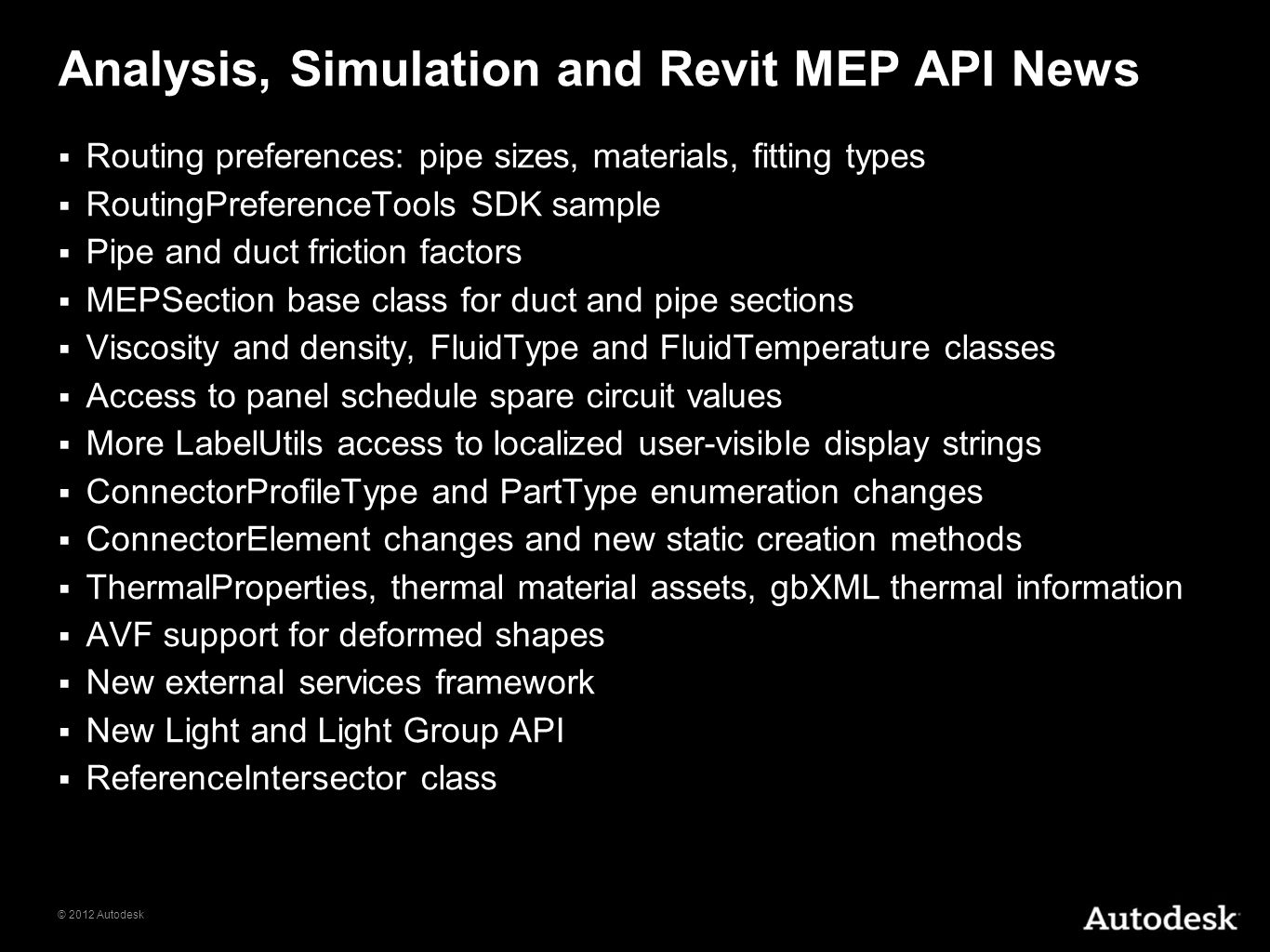 Analysis, Simulation and Revit MEP API News