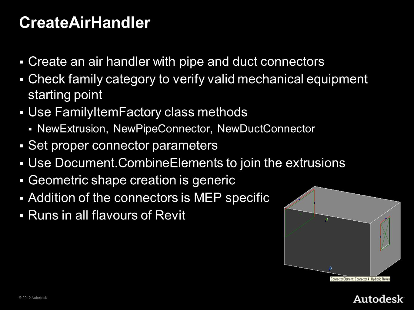 CreateAirHandler Create an air handler with pipe and duct connectors