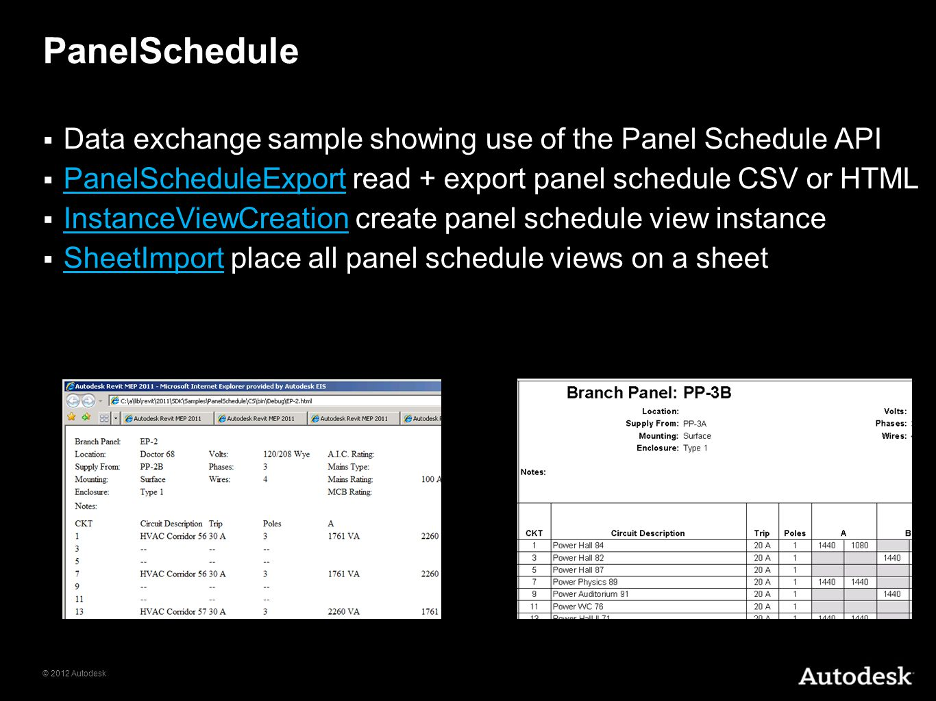 PanelSchedule Data exchange sample showing use of the Panel Schedule API. PanelScheduleExport read + export panel schedule CSV or HTML.