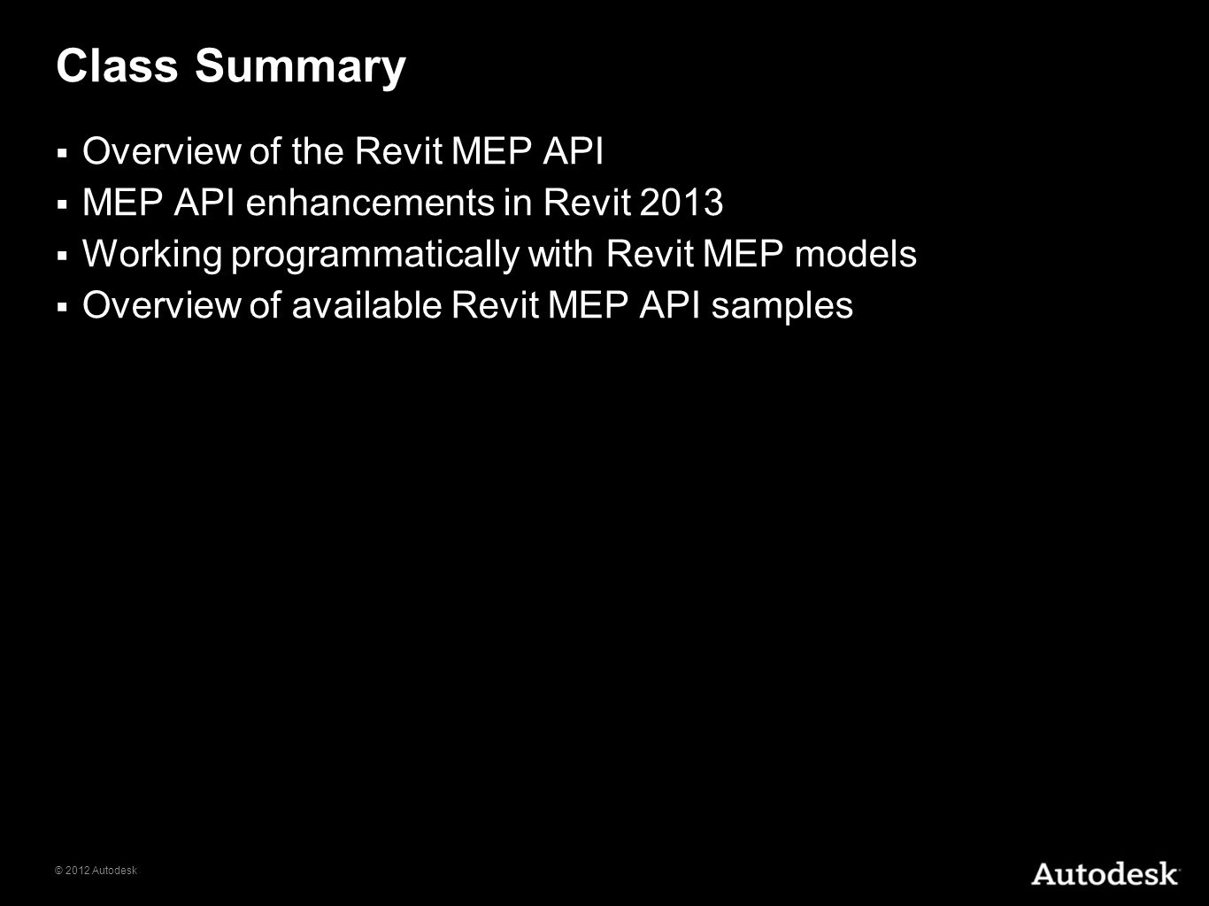 Class Summary Overview of the Revit MEP API