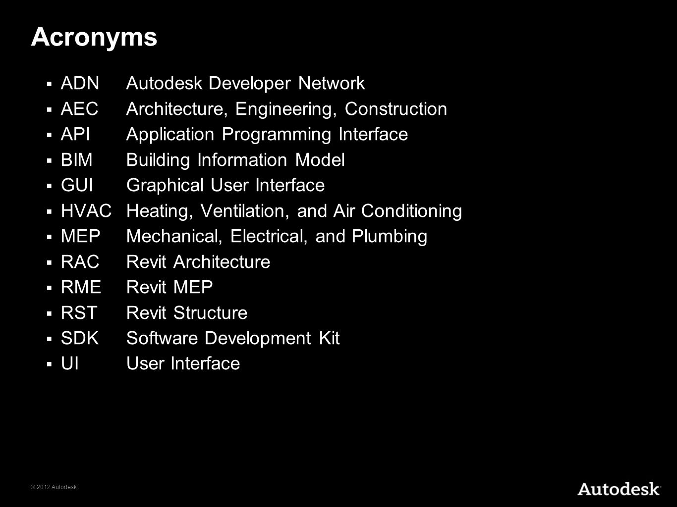 Acronyms ADN Autodesk Developer Network