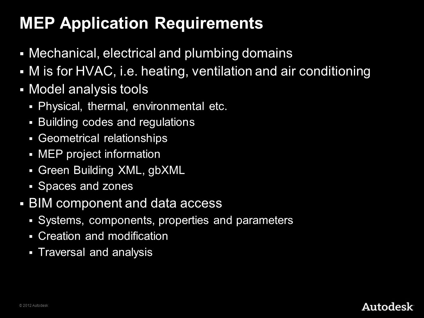 MEP Application Requirements
