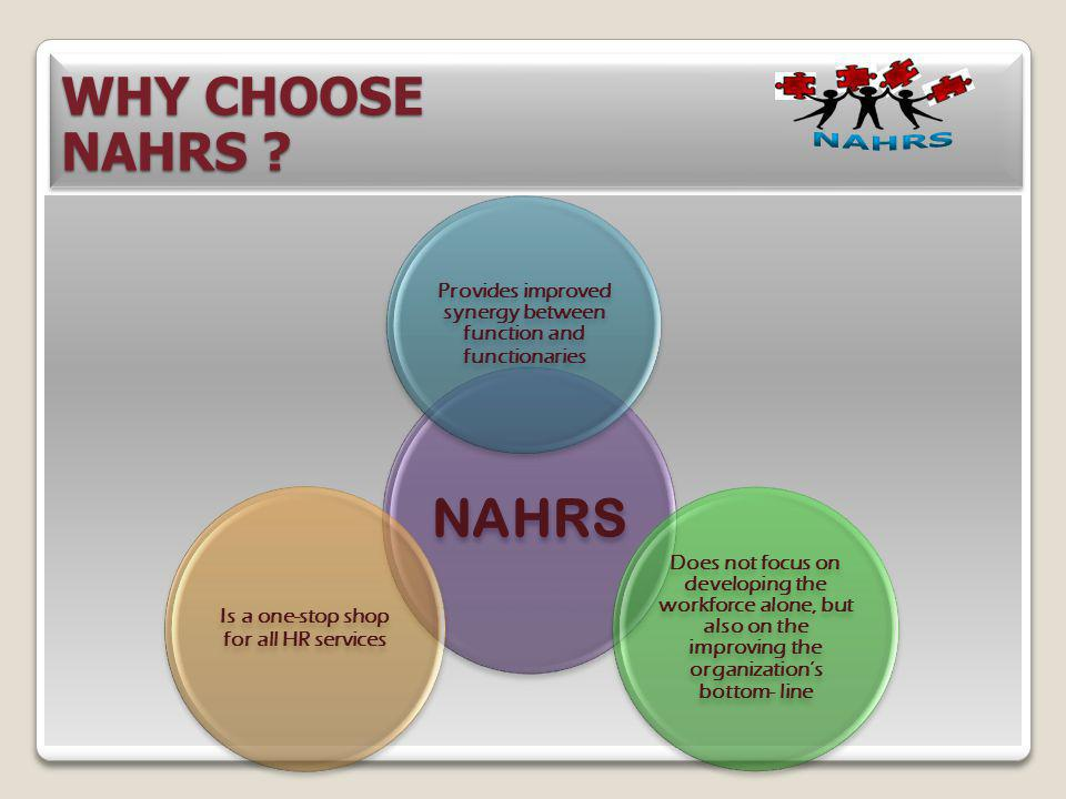 WHY CHOOSE NAHRS NAHRS. NAHRS. Provides improved synergy between function and functionaries.