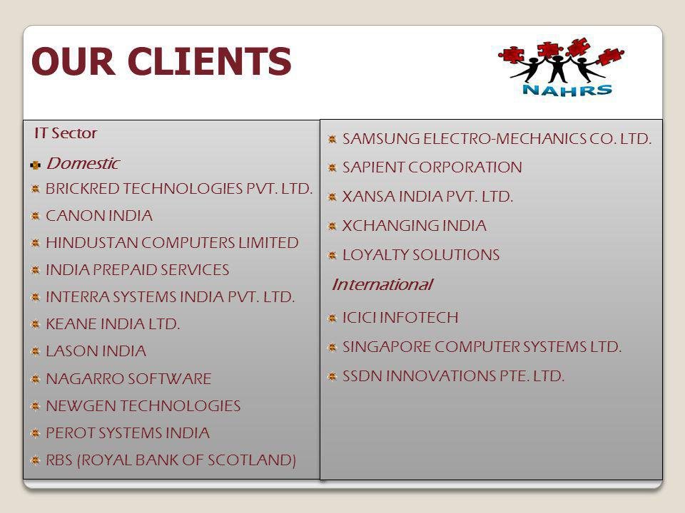 OUR CLIENTS IT Sector SAMSUNG ELECTRO-MECHANICS CO. LTD. Domestic