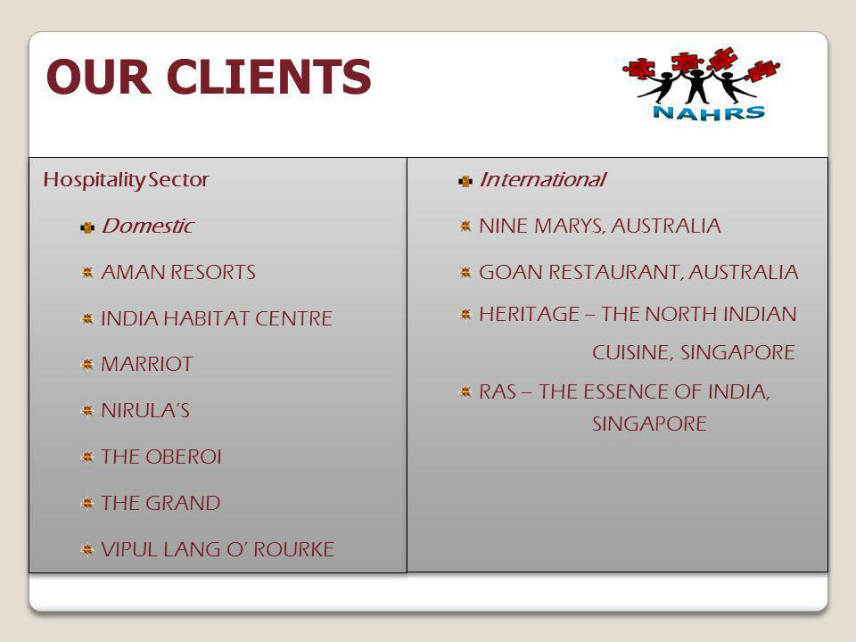 OUR CLIENTS Hospitality Sector Domestic AMAN RESORTS