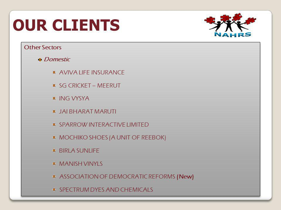 OUR CLIENTS Other Sectors Domestic AVIVA LIFE INSURANCE