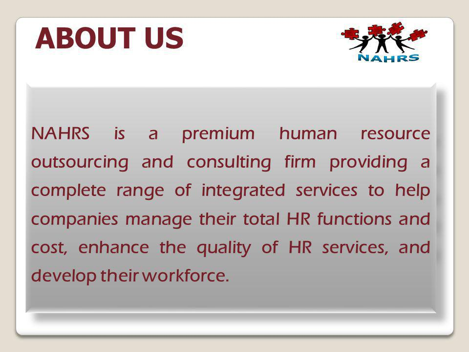 ABOUT US NAHRS.