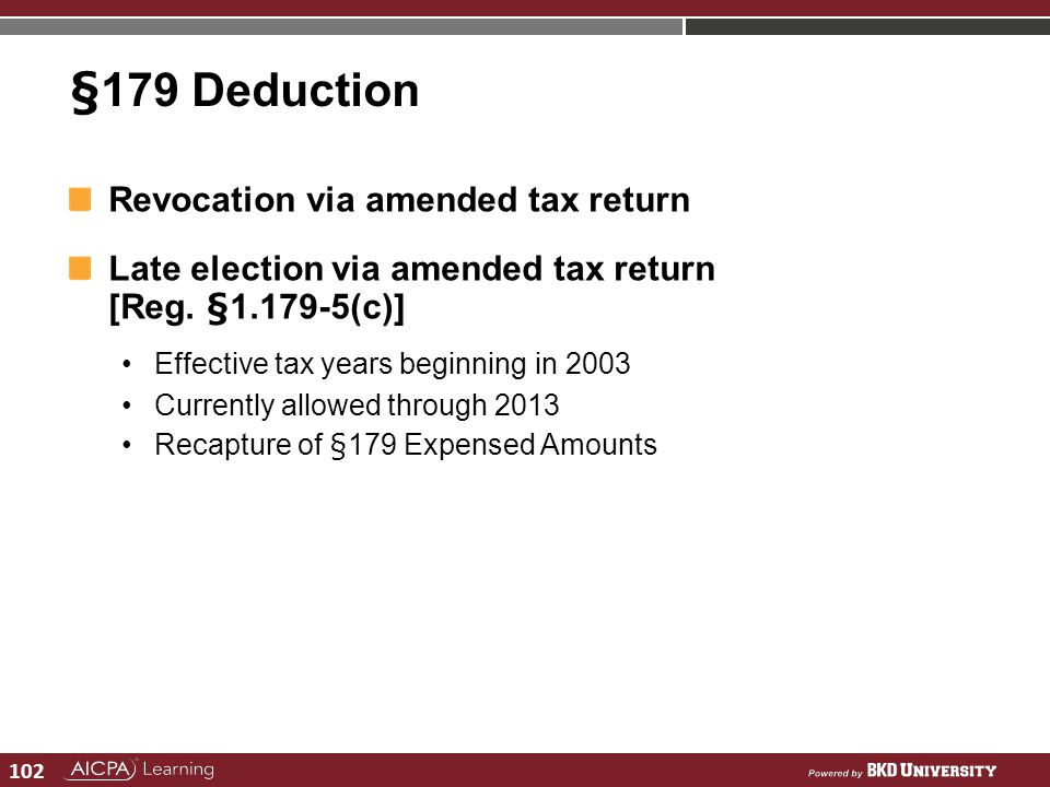 §179 Deduction Revocation via amended tax return