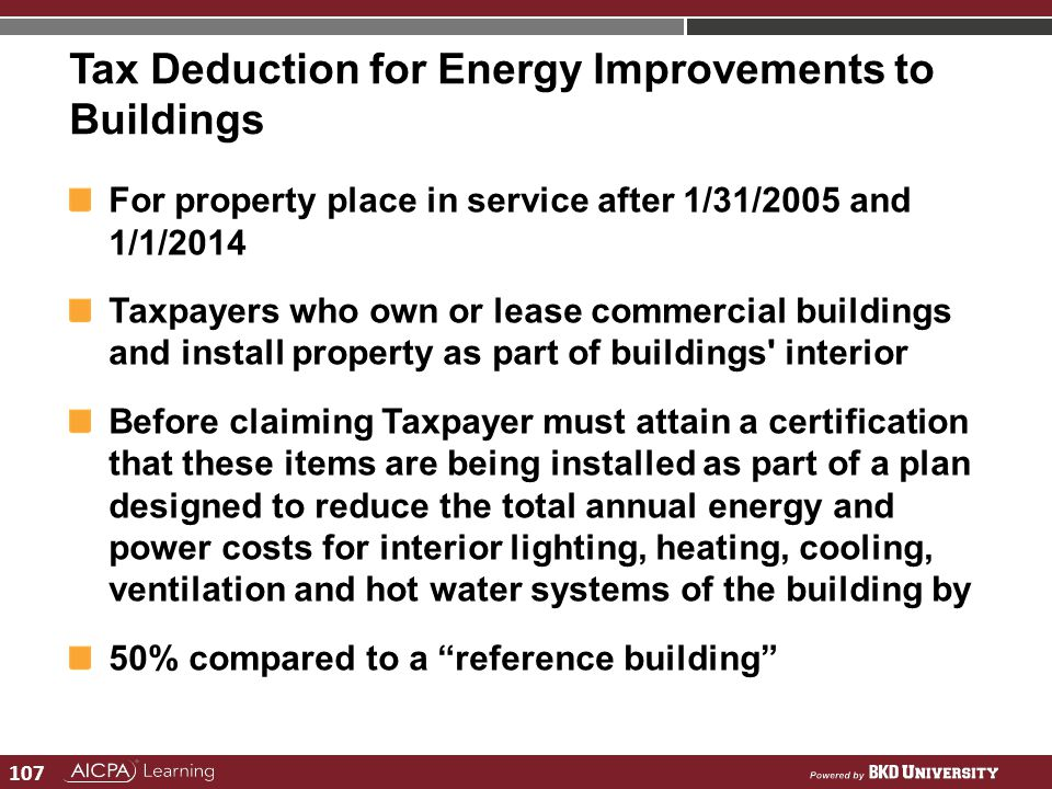 Tax Deduction for Energy Improvements to Buildings