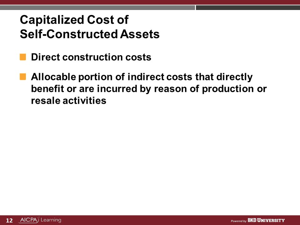 Capitalized Cost of Self-Constructed Assets