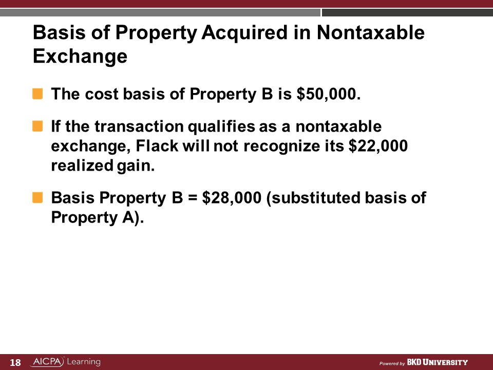 Basis of Property Acquired in Nontaxable Exchange