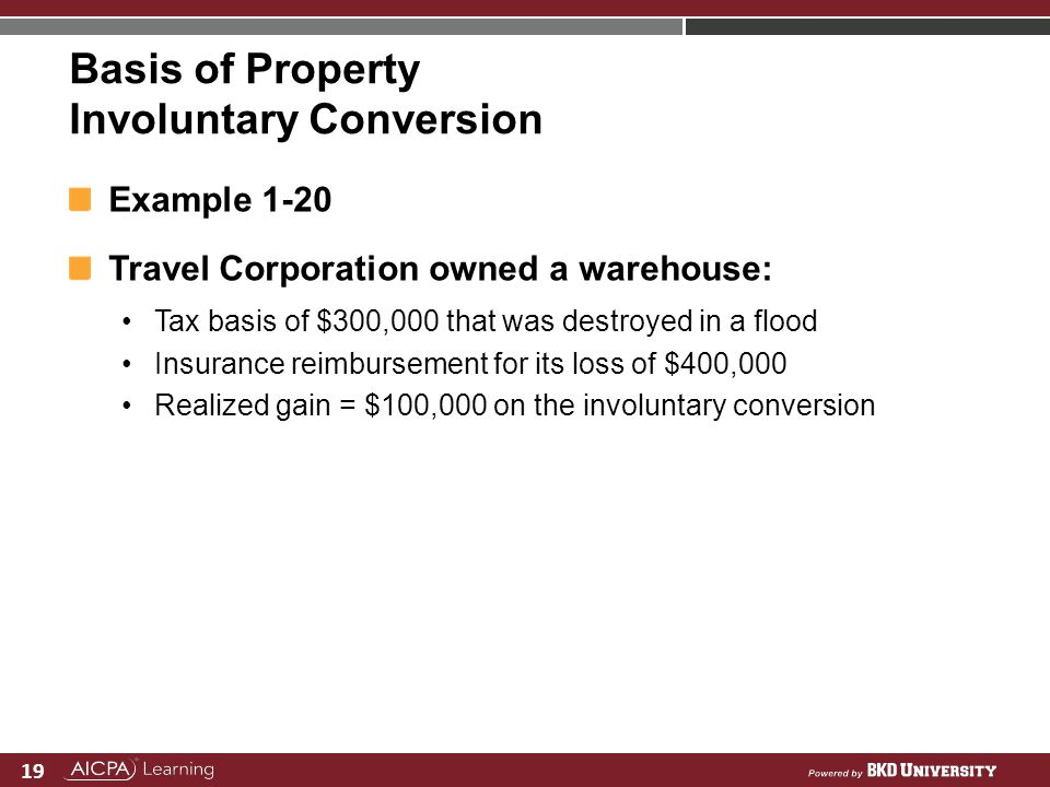 Basis of Property Involuntary Conversion