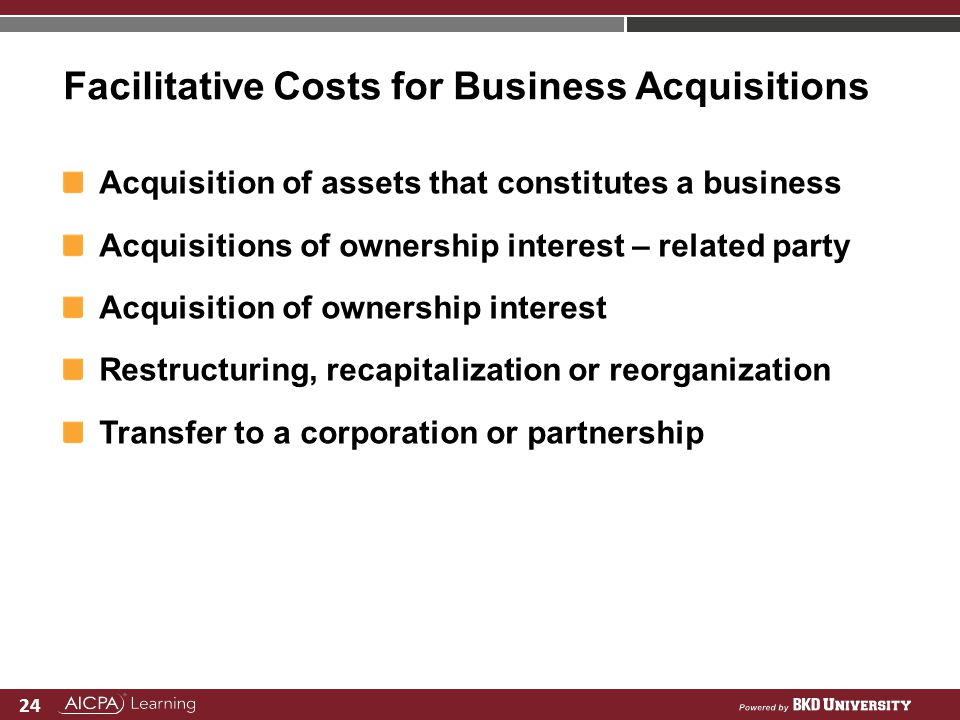 Facilitative Costs for Business Acquisitions