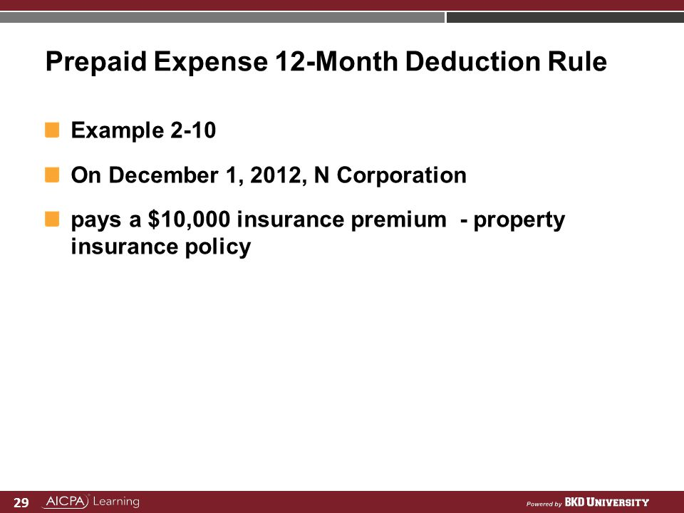 Prepaid Expense 12-Month Deduction Rule