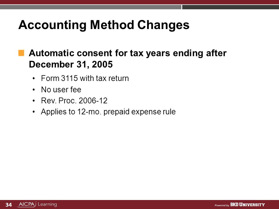 Accounting Method Changes