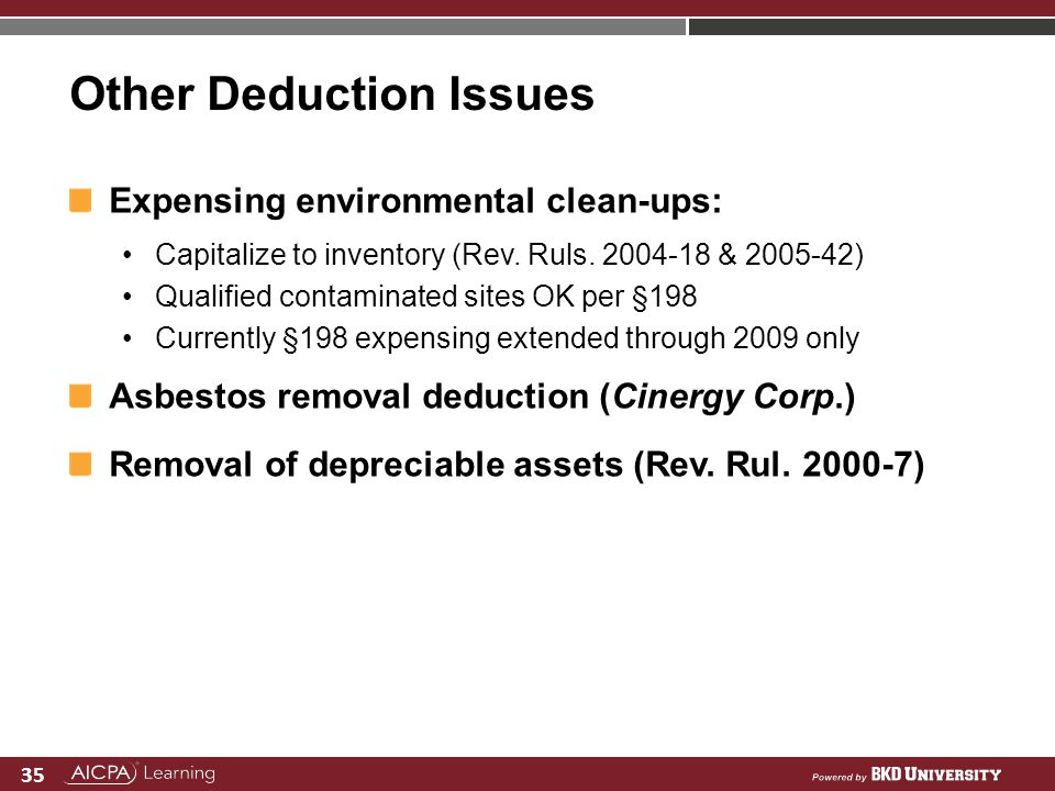Other Deduction Issues