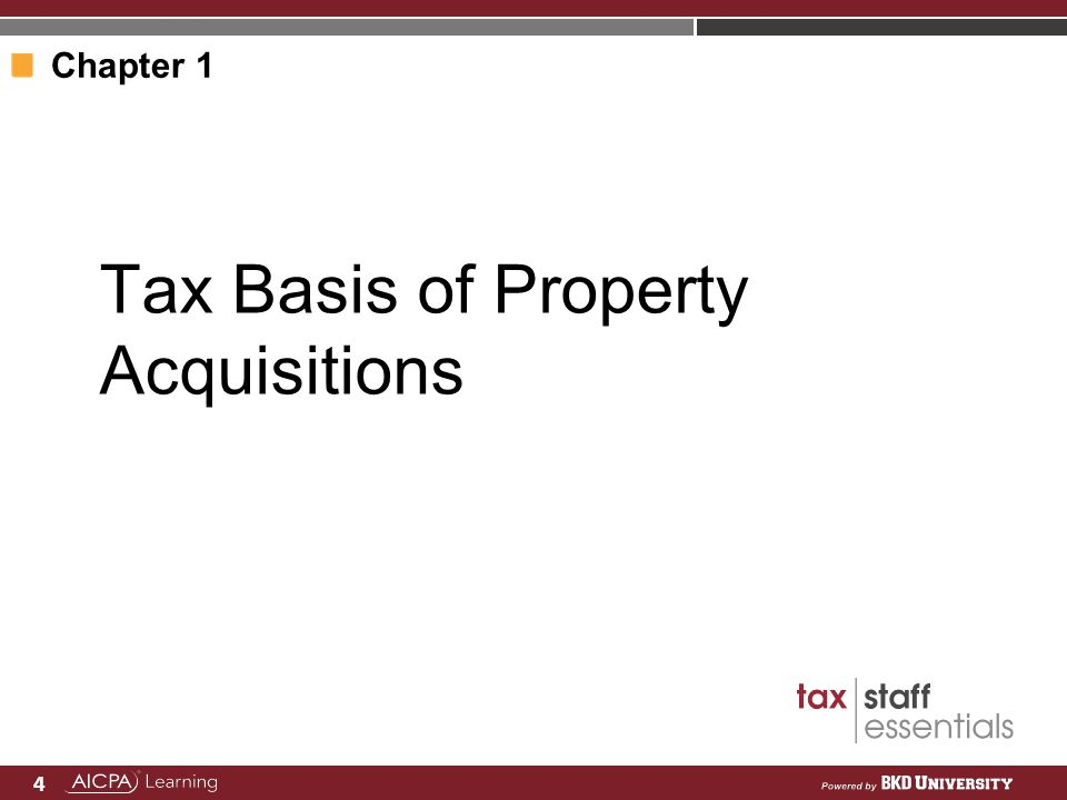 Tax Basis of Property Acquisitions