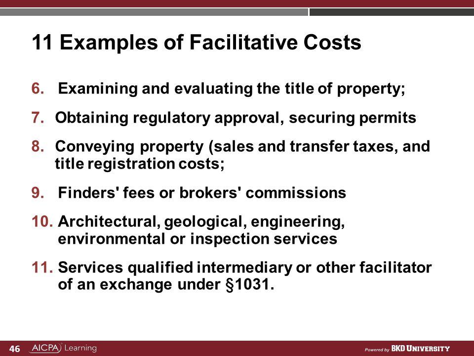 11 Examples of Facilitative Costs