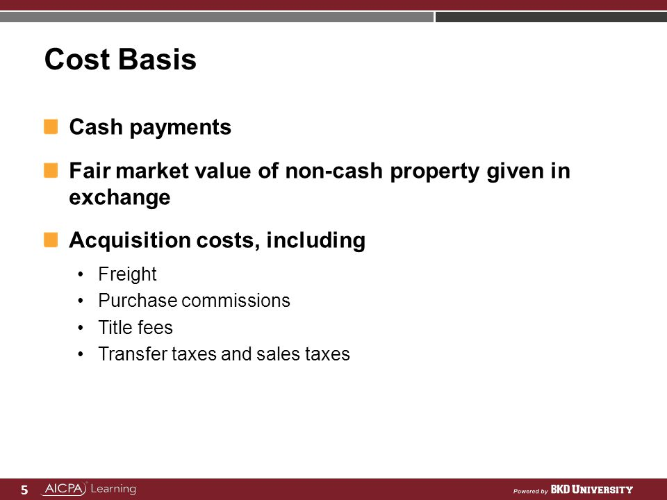 Cost Basis Cash payments