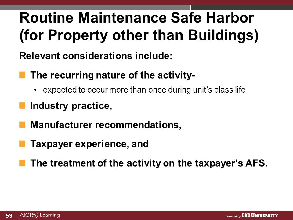 Routine Maintenance Safe Harbor (for Property other than Buildings)