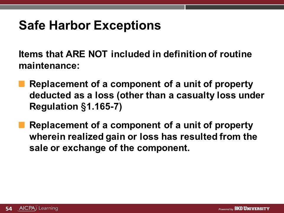 Safe Harbor Exceptions