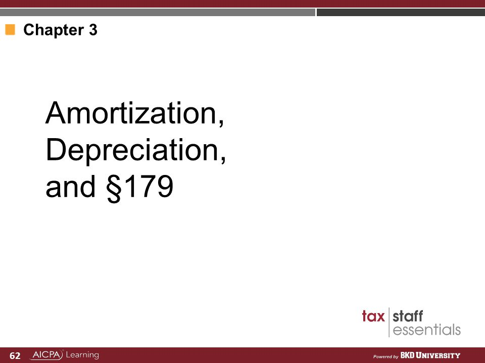 Amortization, Depreciation, and §179