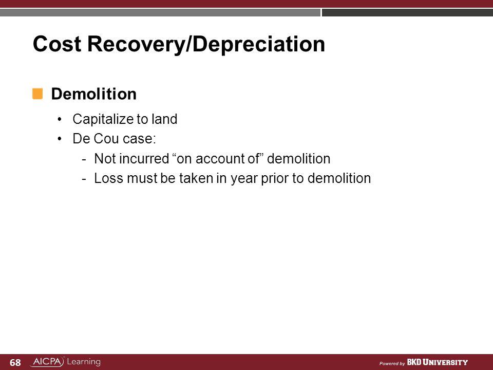 Cost Recovery/Depreciation