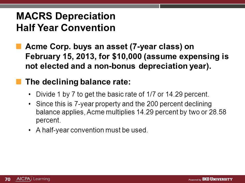 MACRS Depreciation Half Year Convention
