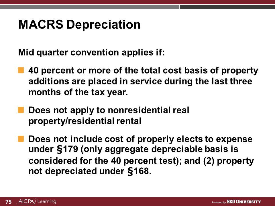 MACRS Depreciation Mid quarter convention applies if: