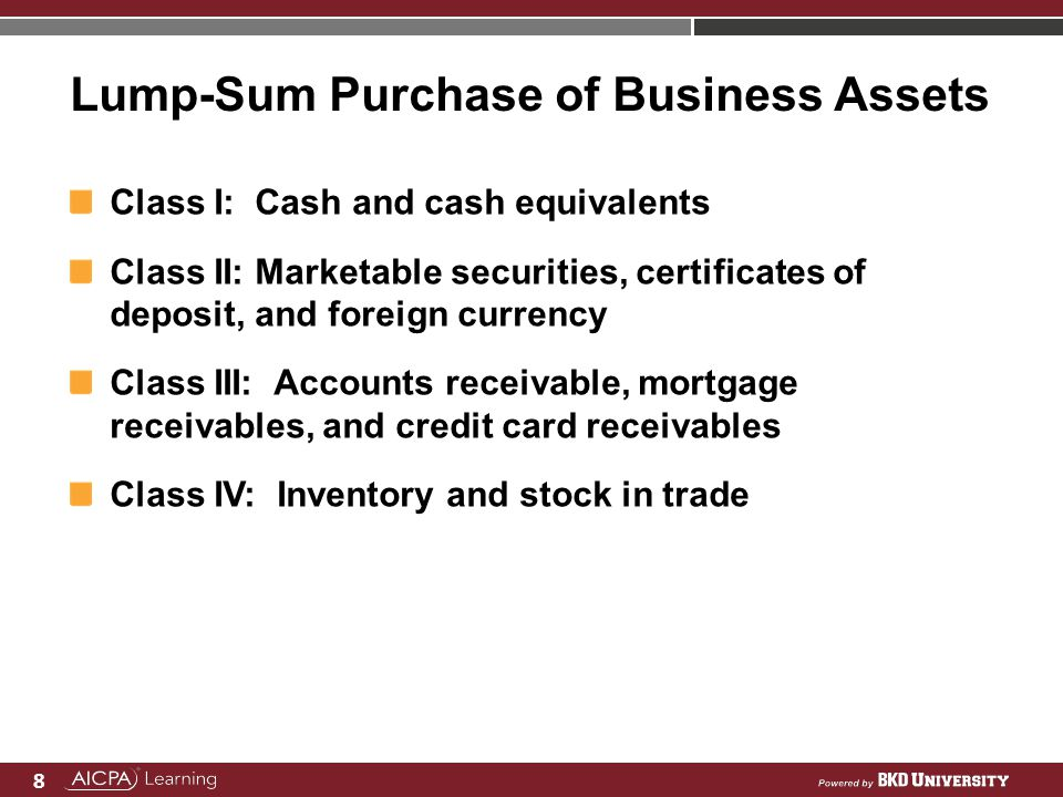 Lump-Sum Purchase of Business Assets