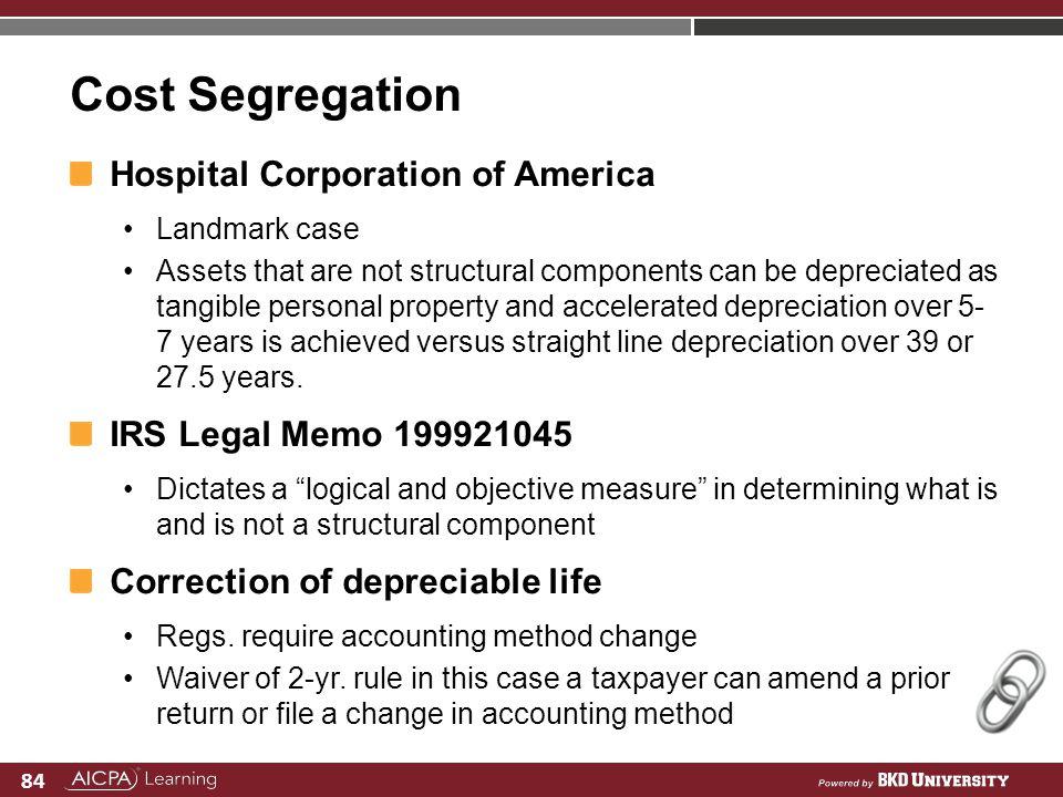 Cost Segregation Hospital Corporation of America