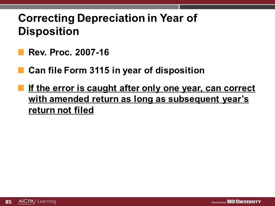 Correcting Depreciation in Year of Disposition