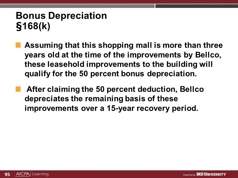 Bonus Depreciation §168(k)