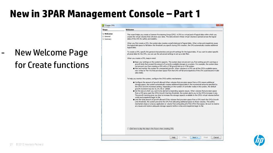 New in 3PAR Management Console – Part 1