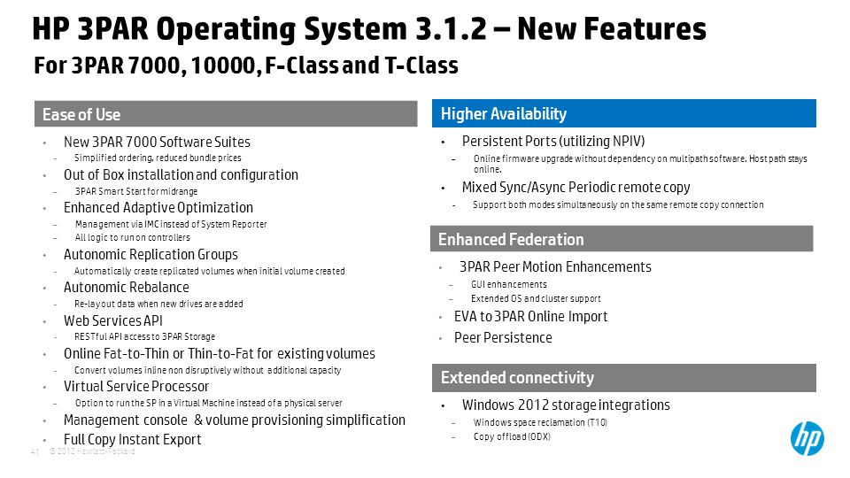 HP 3PAR Operating System 3.1.2 – New Features