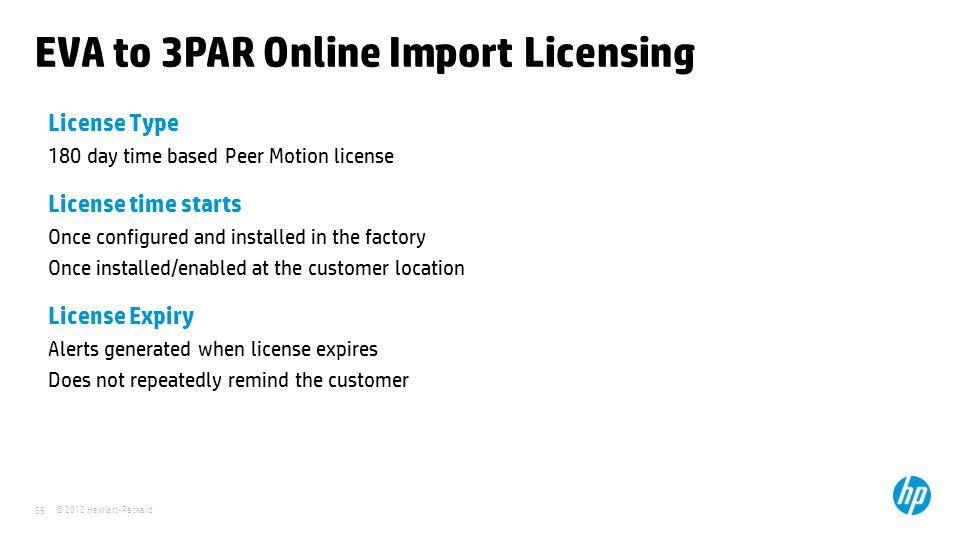 EVA to 3PAR Online Import Licensing
