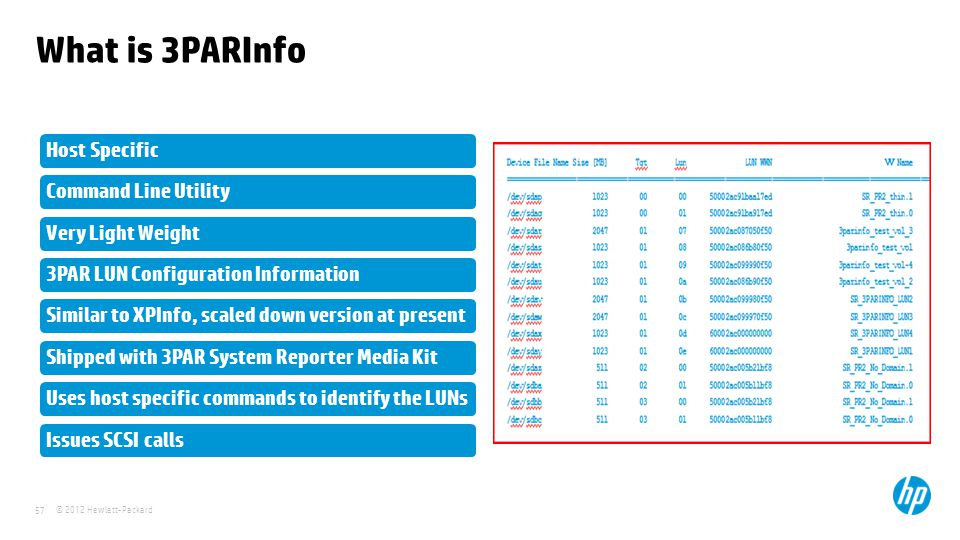 What is 3PARInfo Host Specific Command Line Utility Very Light Weight