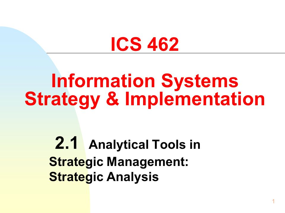 ICS 462 Information Systems Strategy & Implementation