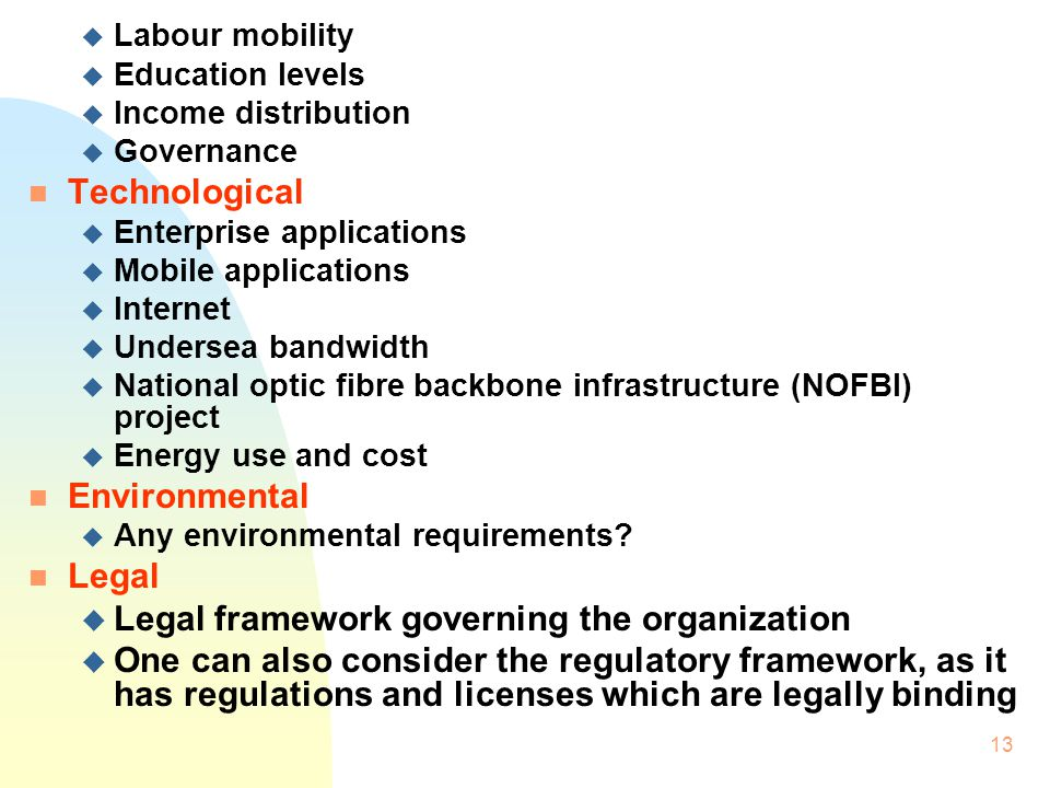 Legal framework governing the organization