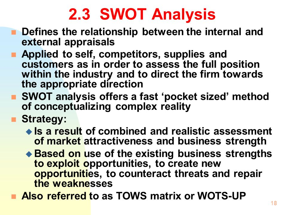 2.3 SWOT Analysis Defines the relationship between the internal and external appraisals.